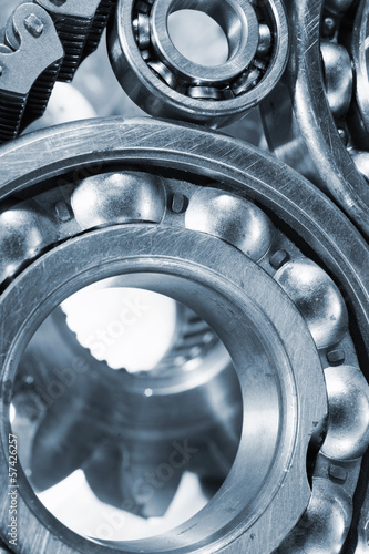 large ball-bearings, gears and cogs close-ups