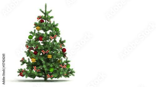 Christmas tree looped on white background.