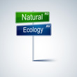 Natural ecology direction road sign.