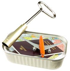concept voyage organisé, planifié, en boîte