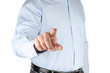 Businessman with indicating hand on white background .