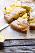 pieces of apple pie with icing sugar
