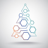 Christmas tree hexagonal cells gradient