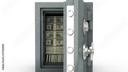 Dollars in Safe. Closing door. Zoom out. HD 1080. Alpha mask.