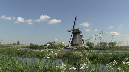 Dutch windmill with canals
