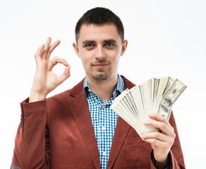 successful man with money in hand
