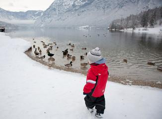 boy by the lake