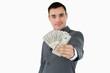 Businessman presenting bank notes