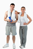 Portrait of a young couple going to practice sport