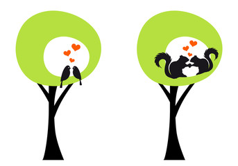 trees with birds and squirrels, vector
