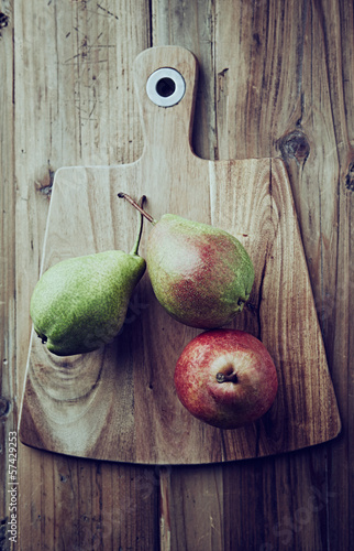 Pears on a kitchen board