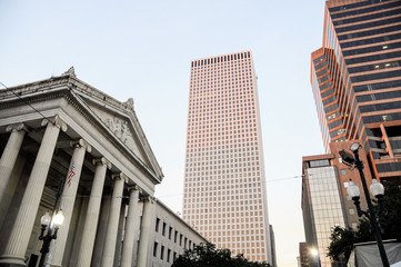 Central Business district, skyscrapers and Gallier Hall, New Orl