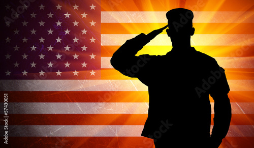Proud saluting male army soldier on american flag background - 57430051