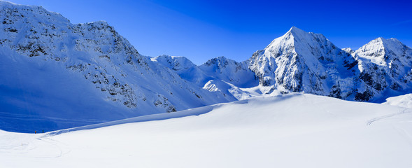 Winter mountains, panorama of the Italian Alps