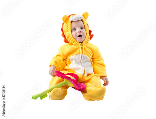 Child boy,dressed in lion carnival suit, isolated on white
