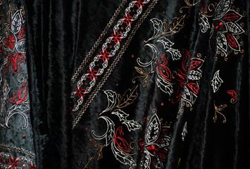 black embroidered velvet