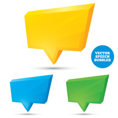 Colorful 3d speech bubbles . Vector illustration.