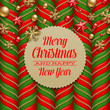 Christmas background, decor and labels with holidays greetings