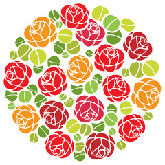 Rose flowers ornament in circle