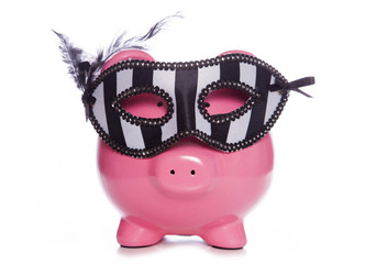 Piggy bank wearing a masquerade mask