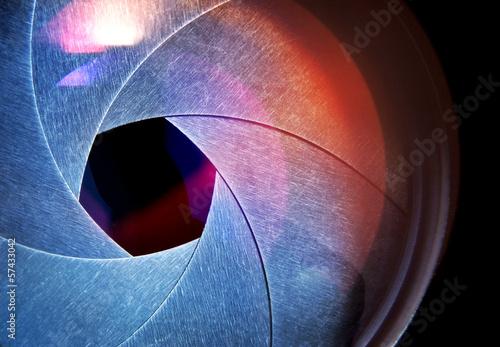 Leinwanddruck Bild lens of the photo on black background