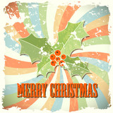 abstract christmas background with holly in retro style