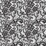 Fototapety Lace black seamless pattern with flowers on white background
