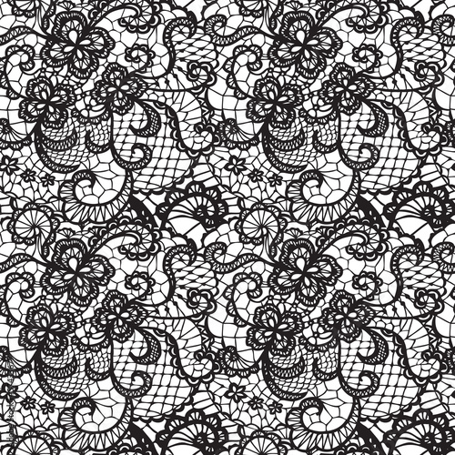Lace black seamless pattern with flowers on white background - 57433677