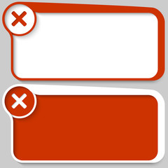 two red vector text box and ban mark