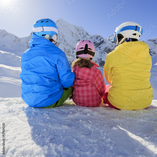 Ski, skiers, snow  - family enjoying ski holiday