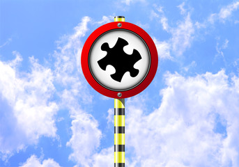 PUZZLE ROAD SIGN