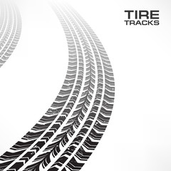 Detail black tire tracks on white, vector illustration