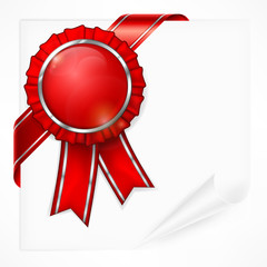 Red award label with ribbon on white paper sheet, vector