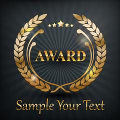 Gold laurel wreath emblem award, on black, vector illustration