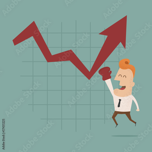 Businessman punch growing graph