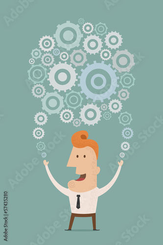 Businessman holding a planet of gears , eps10 vector format