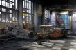 Old cars in an abandoned hall