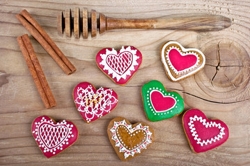 Delicious homemade Christmas gingerbread cookies on wood