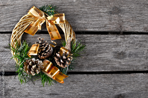 Christmas wreath on the wood