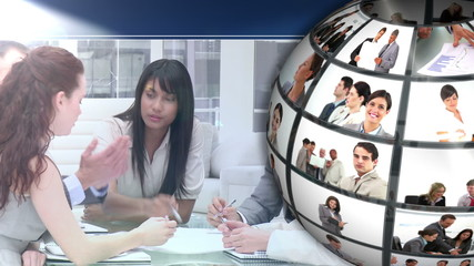 Video showing business people at work and meetings