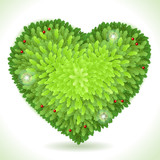 Holly Leaves Heart Placeholder Isolated on White poster
