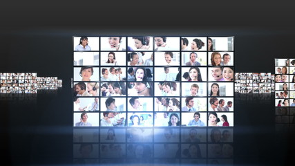 Several squares of short clips showing business people flying