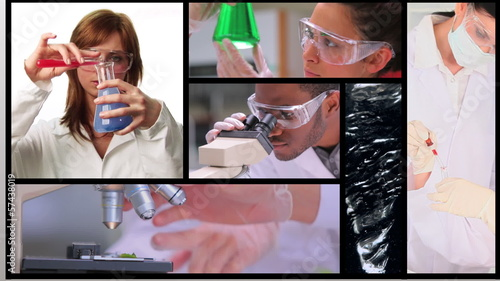 Short clips showing lab assistants