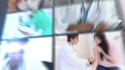 Short clips showing doctors working in hospital