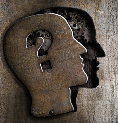 Human brain open with question mark on metal lid
