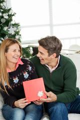 Happy Couple With Christmas Gift