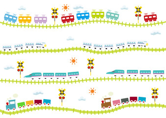 子供向け可愛い踏切のある線路を走る電車 はやぶさ