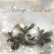 Merry Christmas greeting card with Christmas balls