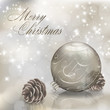 Silver Merry Christmas greeting card with xmas ball