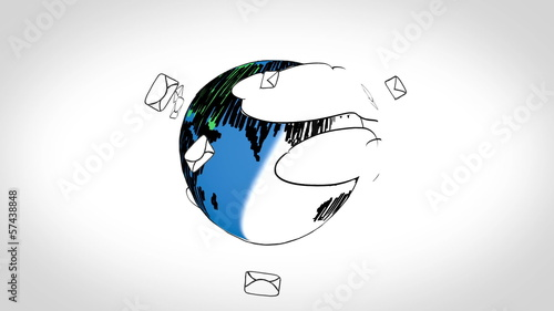 Colored animation showing envelopes circling the earth